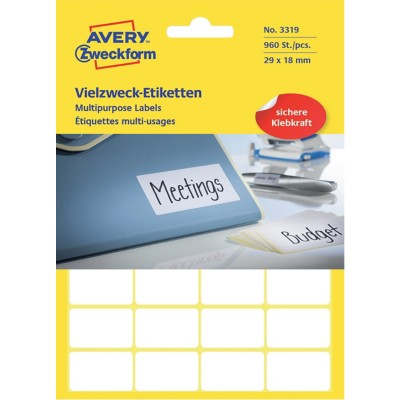 AVERY Zweckform Multifunctionele etiketten 3319 Wit 960 stuks