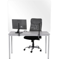 Bi-Office Randloos Preventiescherm Bureau Montage met klemmen Gehard glas 1.200 x 900 mm