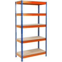 office marshal Metalen stelling Grizzly Blauw, oranje 2.200 x 900 x 450 mm
