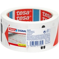 tesa Social Distancing Tape 50 mm (B) x 50 m (L) Wit, rood