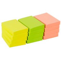 Office Depot Zelfklevende notes 38 x 51 mm Kleurenassortiment Neon 12 Blokken van 100 Vellen