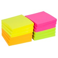 Office Depot Zelfklevende notes 76 x 76 mm Kleurenassortiment Neon 12 Blokken van 100 Vellen