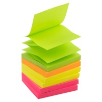 Office Depot Z-Notes 76 x 76 mm Kleurenassortiment Neon 6 Blokken van 100 Vellen