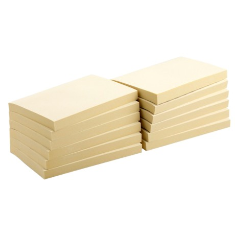 Office Depot Gerecyclede notes Geel Blanco 76 x 127 mm 76 x 76 mm 75 g/m² 12 stuks à 100 vellen