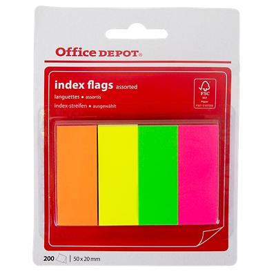 Office Depot Neon Indexen Kleurenassortiment Blanco 20 x 50 mm 4 Stuks à 50 Strips
