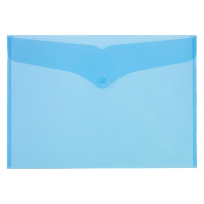 Office Depot Documentmappen A3 Transparant blauw Polypropyleen Drukknopsluiting 32 x 45,6 cm
