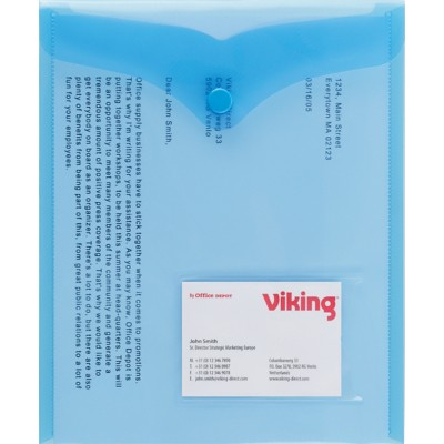 Office Depot Documentmappen A5 Transparant blauw Polypropyleen Drukknopsluiting 18 x 21,5 cm