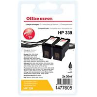 Office Depot Compatibel HP 339 Inktcartridge C8767E Zwart 2 Stuks