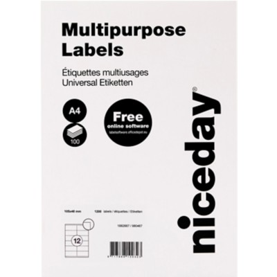 Niceday 1882667 Multifunctionele etiketten Wit 105 x 48 mm 1200 Etiketten