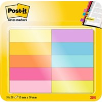 Post-it 670-10AB Indexen Kleurenassortiment Blanco Niet geperforeerd 15 x 50 mm 10 Stuks à 50 Strips