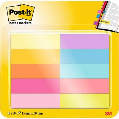Post-it 670-10AB Indexen Kleurenassortiment Blanco Niet geperforeerd 12,7 x 44,4 mm 63 g/m² 10 Stuks à 50 Strips