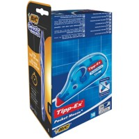 Tipp-Ex Pocket Mouse Correctieroller en 4 gratis BIC Crystal Pennen Pocket Mouse Wit 4,2 mm x 10 m 10 stuks