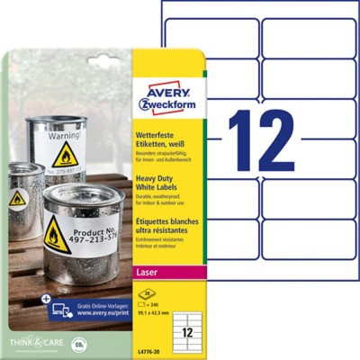 AVERY Zweckform Watervaste etiketten Heavy Duty Wit 240 stuks