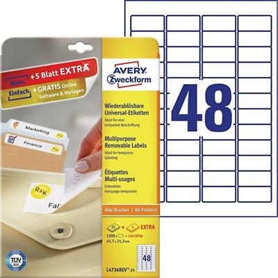 Avery L4736REV-25 Mini multifunctionele etiketten 45,7 x 21,2 mm Wit 25 Vellen à 48 Etiketten