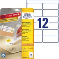 Avery L4743REV-25 Mini multifunctionele etiketten 99,1 x 42,3 mm Wit 30 Vellen à 12 Etiketten