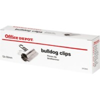 Office Depot Bulldog Papier Clips 50mm Zilver Pak van 12