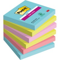 Post-it Super Sticky Notes 76 x 76 mm Lichtblauw, lichtgroen, roze, rood 6 Stuks à 90 Vellen