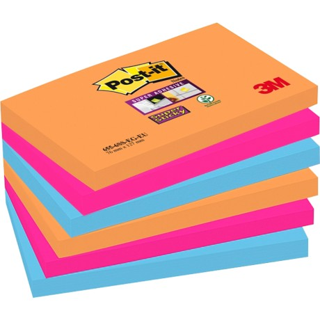 Post-it Super sticky Notes Oranje, fuchsia, cyaan Blanco 76 x 127 mm 70 g/m² 6 stuks à 90 vellen