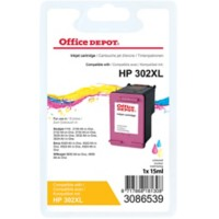 Office Depot Compatibel HP 302XL Inktcartridge F6U67AE Cyaan, magenta, geel