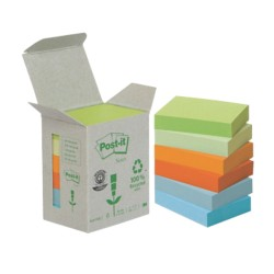 Post-it 6531GB Gerecyclede notes Kleurenassortiment Blanco 51 x 38 mm 38 x 51 mm 80 g/m² 6 stuks à 100 vellen