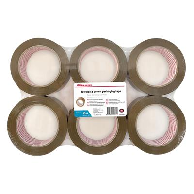 Office Depot Industriële tape Low noise 50 mm x 100 m Bruin 6 Rollen