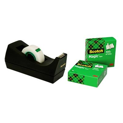Scotch Plakbandafroller C38 Zwart + 3 rollen Scotch Magic Tape 810 Plakband Onzichtbaar mat 19 mm x 33 m