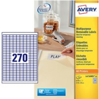 Avery L4730REV-25 Mini multifunctionele etiketten 17,8 x 10 mm Wit 25 Vellen à 270 Etiketten