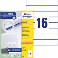 AVERY Zweckform Multifunctionele Etiketten 3484 Ultragrip Wit 105 x 37 mm 100 Vellen à 16 Etiketten