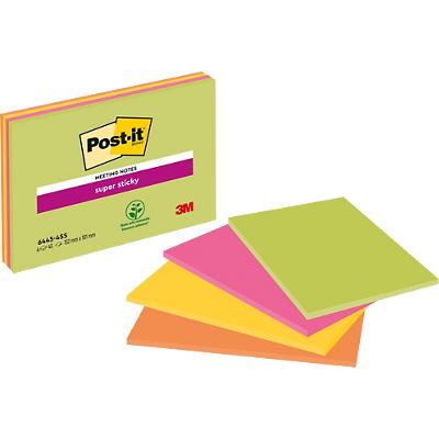 Post-it Super Sticky Grote Meeting Notes 152 x 101 mm Neon Kleurenassortiment 4 Blokken van 45 Vellen
