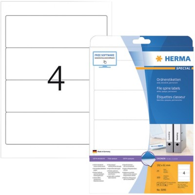 HERMA SuperPrint Ordneretiketten A4 61 mm Wit 100 Stuks