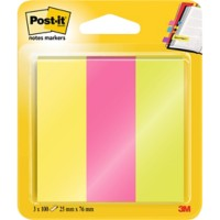 Post-it 671-3 Indexen Kleurenassortiment Neon Blanco Niet geperforeerd 25 x 76 mm 70 g/m² 3 Stuks à 100 Strips