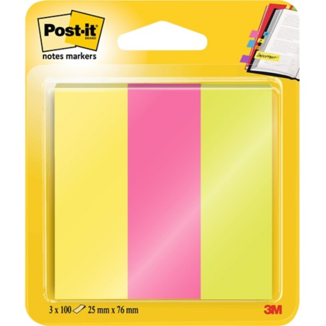 Post-it 671-3 Indexen Assortiment neonkleuren 25 x 76 mm 25 x 76,0 mm 70 g/m² 3 stuks à 100 strips