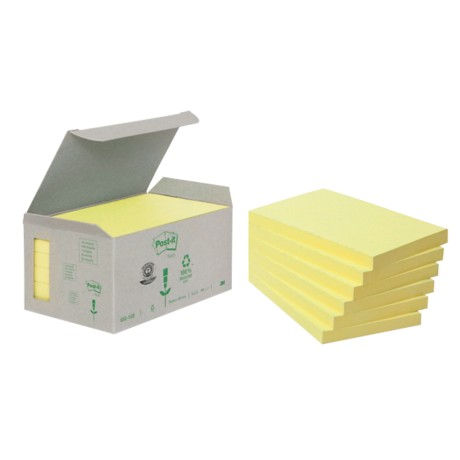 Post-it 6551B Gerecyclede notes Geel Blanco 76 x 127 mm 76 x 127 mm 80 g/m² 6 stuks à 100 vellen