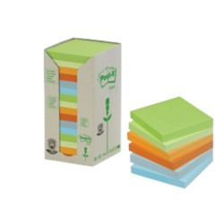 Post-it 654-1RPT Recycled Notes Kleurenassortiment Blanco niet geperforeerd 76 x 76 mm 76 x 76 mm 70 g/m² 16 stuks à 100 vellen