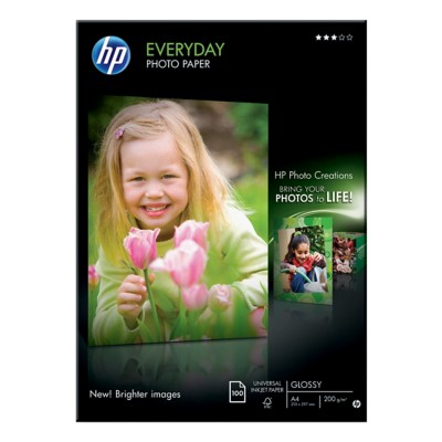 HP Everyday Inkjet fotopapier A4 Glanzend 200 g/m² 21 x 29,7 cm Wit 100 Vellen