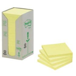Post-it 654-1T Gerecyclede notes Geel Blanco niet geperforeerd 76 x 76 mm 76 x 76 mm 70 g/m² 16 stuks à 100 vellen