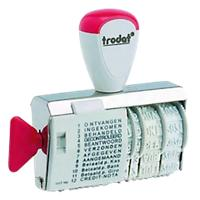 Trodat Classic 1117 (NL) woord-datumstempel wit, rood