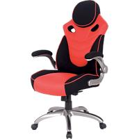 Realspace Basic Tilt Gaming Chair met 2D Armrest and Adjustable Seat HLC-1455 Gelijmd Leer Zwart, Rood
