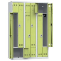 Pierre Henry Locker 3 Deur 3 Vakken Grijs, lime 1.200 x 500 x 1.800 mm