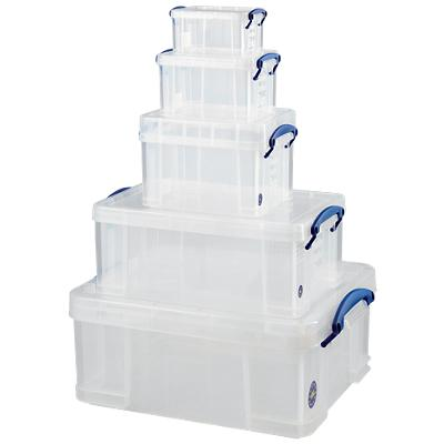 Really Useful Box Set Archiefboxen 1,1/ 0,7/ 1,6/ 3/ 9 en 18 L Transparant Plastic 5 Stuks