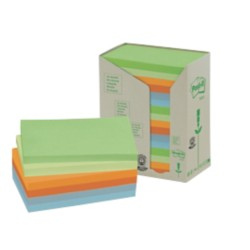 Post-it 655-1RPT Recycled notes Kleurenassortiment Blanco 76 x 127 mm 76 x 127 mm 70 g/m² 16 stuks à 100 vellen