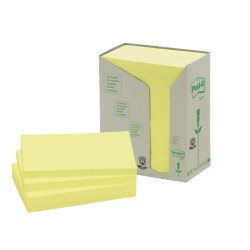 Post-it 655-IT Gerecyclede notes Geel Blanco niet geperforeerd 76 x 127 mm 76 x 127 mm 70 g/m² 16 stuks à 100 vellen