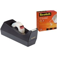 Scotch C38 Plakbandhouder Zwart Scotch® dispenser + 1 rol Scotch® Crystal tape 1,9 x 1 cm