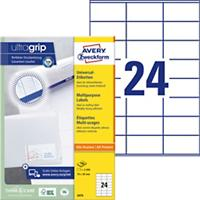 AVERY Zweckform Multifunctionele Etiketten 3475 Ultragrip Wit 70 x 36 mm 100 Vellen à 24 Etiketten