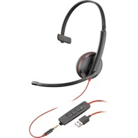 Plantronics Blackwire 3215 UC Headset met kabel zwart
