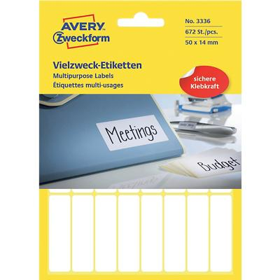 AVERY Zweckform 3336 Multifunctionele etiketten Wit 50 x 14 mm 28 Vellen à 24 Etiketten