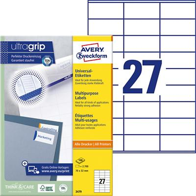 AVERY Zweckform Multifunctionele Etiketten 3479 Ultragrip Wit 70 x 32 mm 100 Vellen à 27 Etiketten