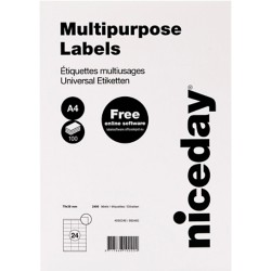 Niceday 980460 Multifunctionele etiketten 70 x 36 mm Wit 70 x 36 mm 100 vel à 24 etiketten