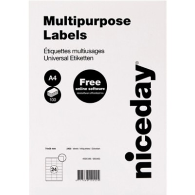 Niceday 980460 Multifunctionele etiketten 70 x 36 mm Wit 70 x 36 mm 100 Vellen à 24 Etiketten
