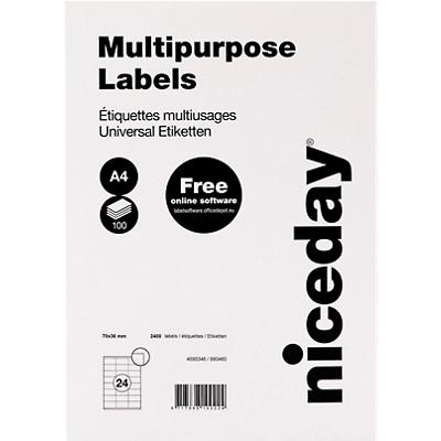 Niceday 980460 Multifunctionele etiketten Wit 70 x 36 mm 100 Vellen à 24 Etiketten